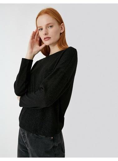 Koton Koton Bisiklet Yaka T-Shirt Siyah